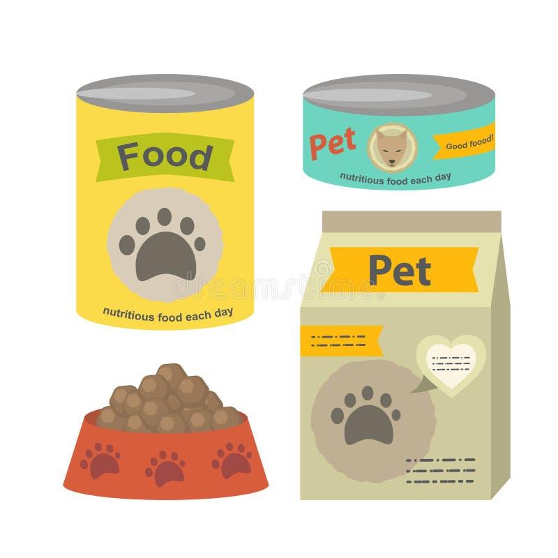 Zwierzęcia domowego jedzenia ustalona wektorowa płaska ilustracja odizolowywająca ilustracja wektor