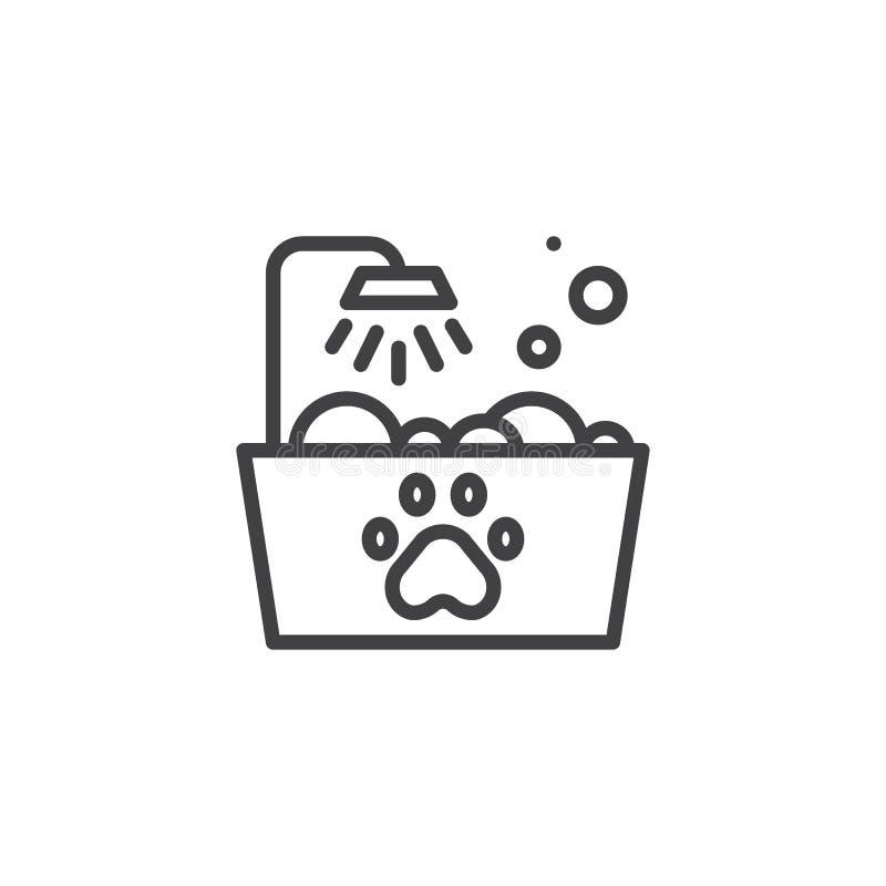 Zwierzęcia domowego skąpania linii ikona royalty ilustracja