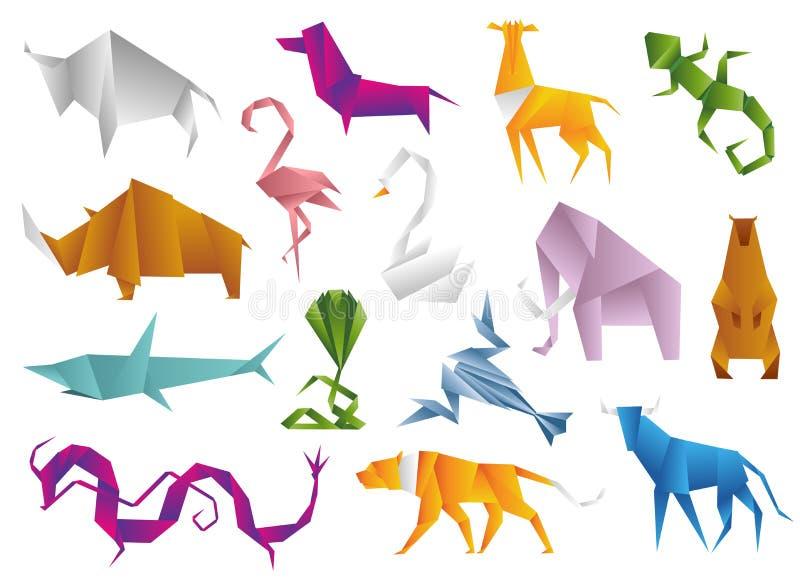 Zwierzęcia origami ustalony japończyk składał nowożytnego przyroda hobby symbolu dekoraci wektoru kreatywnie ilustrację ilustracji