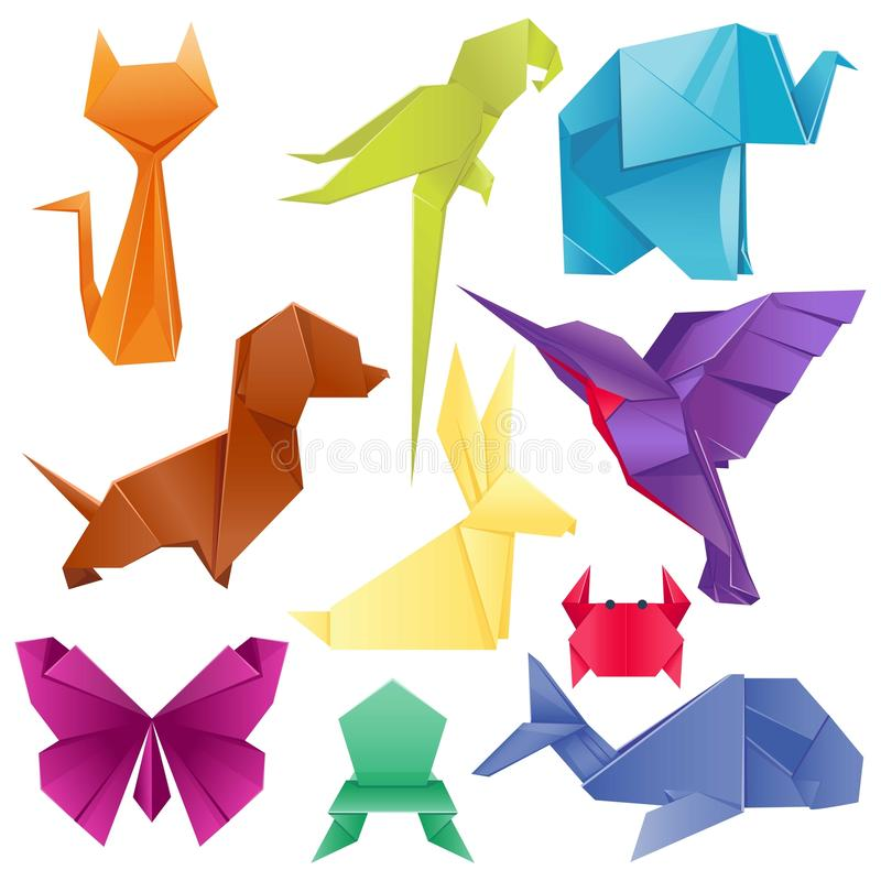 Zwierzęcia origami ustalony japończyk składał nowożytnego przyroda hobby symbolu dekoraci wektoru kreatywnie ilustrację royalty ilustracja
