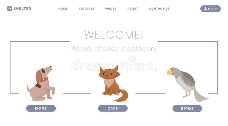 Zwierzęcia schronienia lądowania strony wektorowy szablon Przegrani zwierzęta domowe, bezdomny pies i kot adopcji centrum Zaniech royalty ilustracja