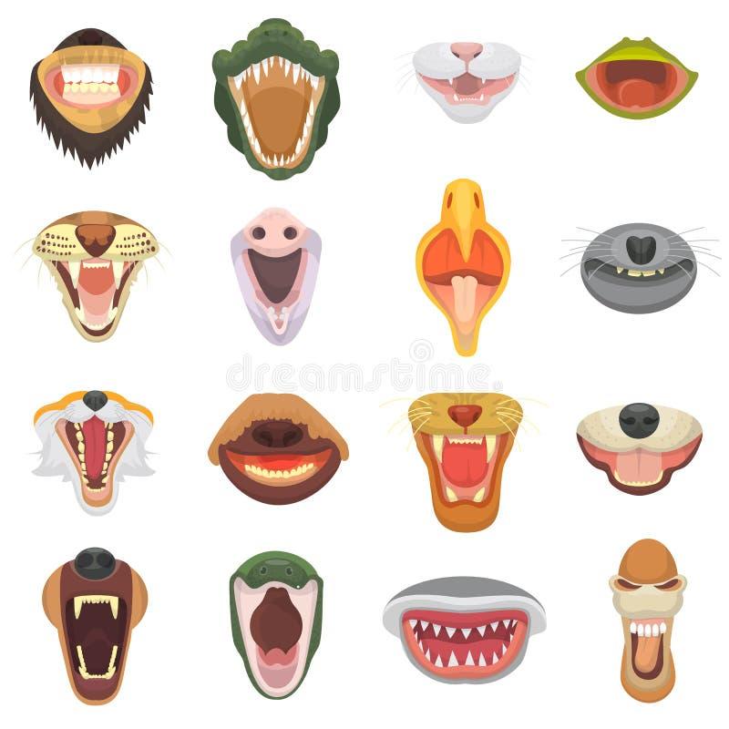 Zwierzęcia usta wektoru otwarta szczęka z zębami lub fangs huczeń zwierzęta gniewny lew, kot lub roześmiany niedźwiedź z agresywn royalty ilustracja