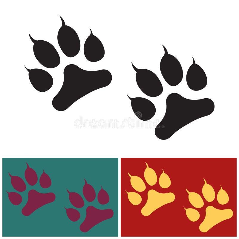 Zwierzęcy łapa druk, odcisk stopy z pazur kolekcją odizolowywającą na lub białym, czerwonym, błękitnym tle, ilustracji