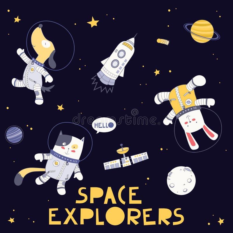 Zwierzęcy Astronautyczni badacze w przestrzeni na Ciemnych tło psa królika i kota astronautach Wektorowi Ilustracyjni projekta el royalty ilustracja