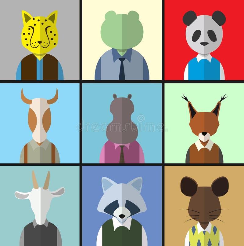 Zwierzęcy avatar ikony set ilustracji
