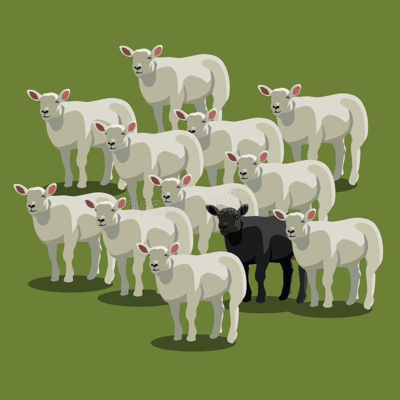 Zwierzęcy barani czerń na zieleni czarny cakiel ilustracja wektor