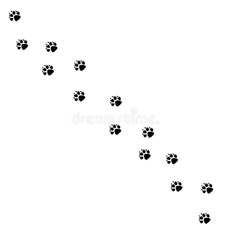 Zwierzęcy czerń i przyroda ssaka zwierzęcy kroki foots, zwierzę domowe ślada Zwierzęcy foots sylwetka kroków Zwierzęcej stopy dru ilustracja wektor