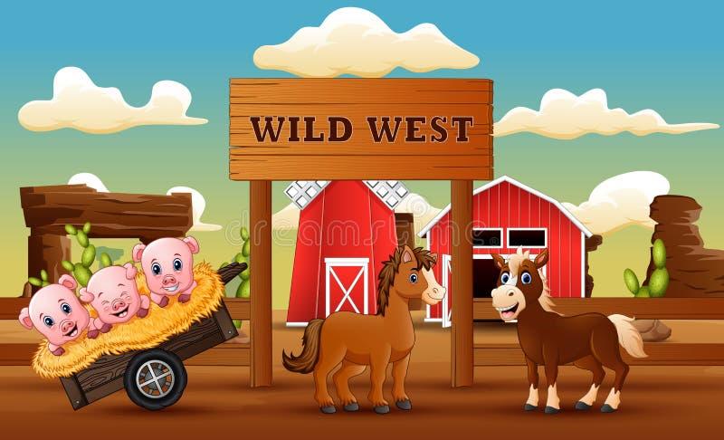 Zwierzęcy gospodarstwo rolne w dzikim zachodu krajobrazie ilustracji