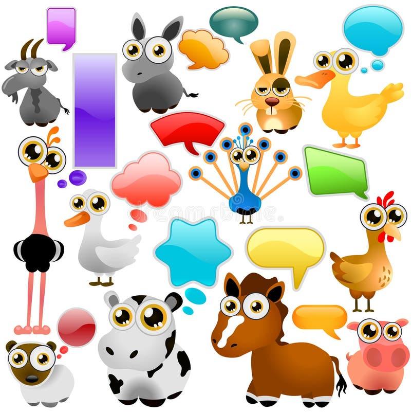 zwierzęcy kreskówki gospodarstwa rolnego set ilustracji