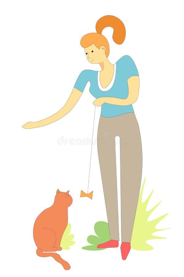 Zwierzęcy pussycat bawić się z handmade zabawką właściciela wektor ilustracji