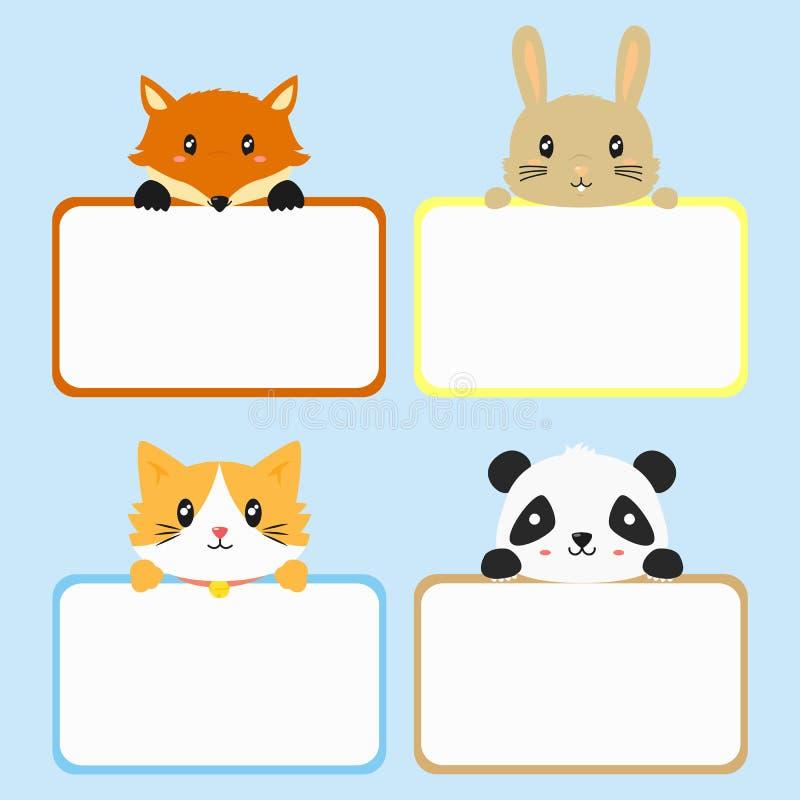 Zwierzęcy sztandaru szablon Śliczny Zwierzęcy mienie sztandaru kreskówki wektor ilustracji