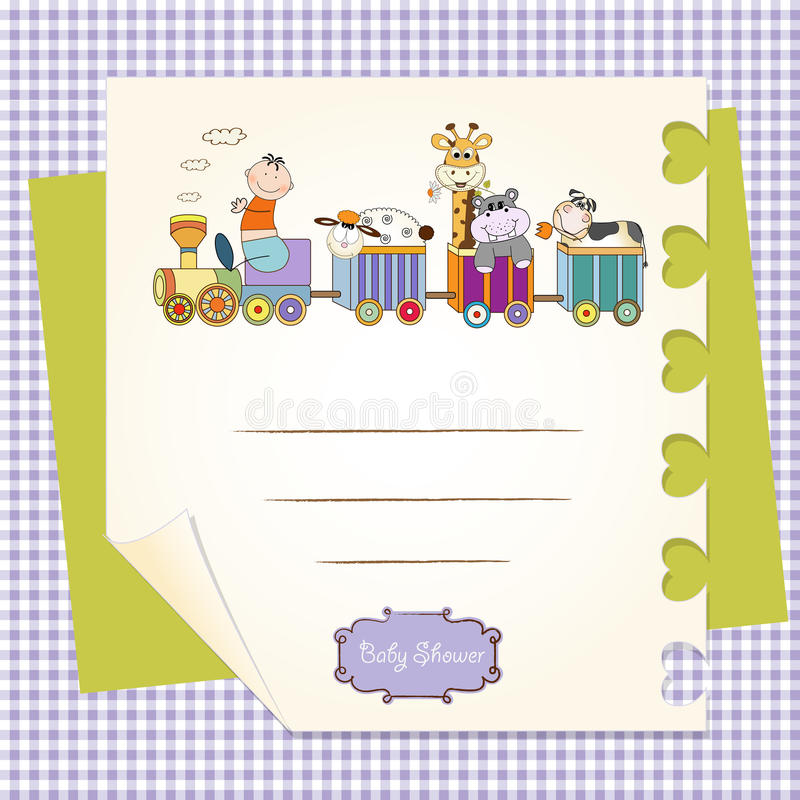 zwierzęcy urodzinowej karty dostosowany zabawek pociąg ilustracji