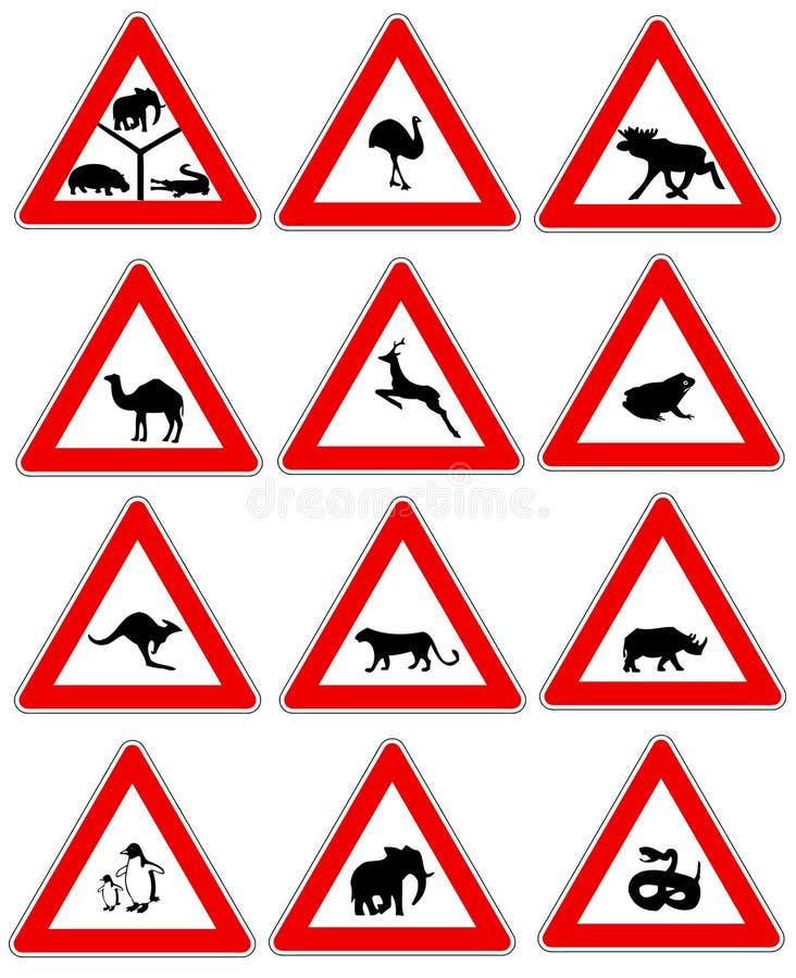 zwierzęcy znaków ruch drogowy ostrzeżenie royalty ilustracja