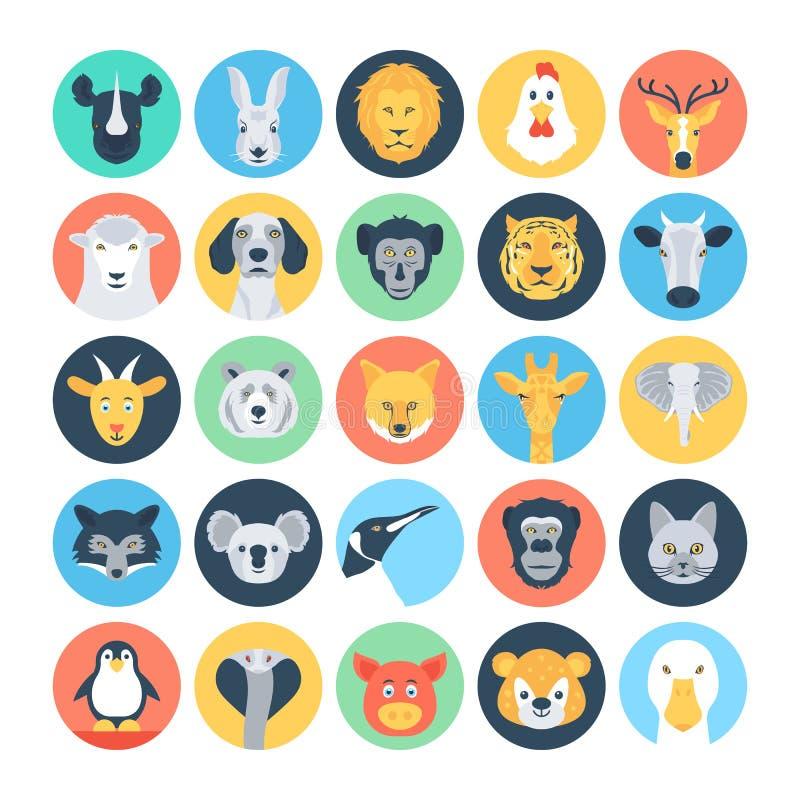 Zwierzęcych Avatars Płaskie Wektorowe ikony 1 ilustracji