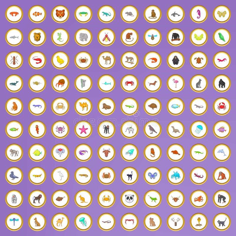 100 zwierzęcych ikon ustawiających w kreskówka stylu ilustracja wektor