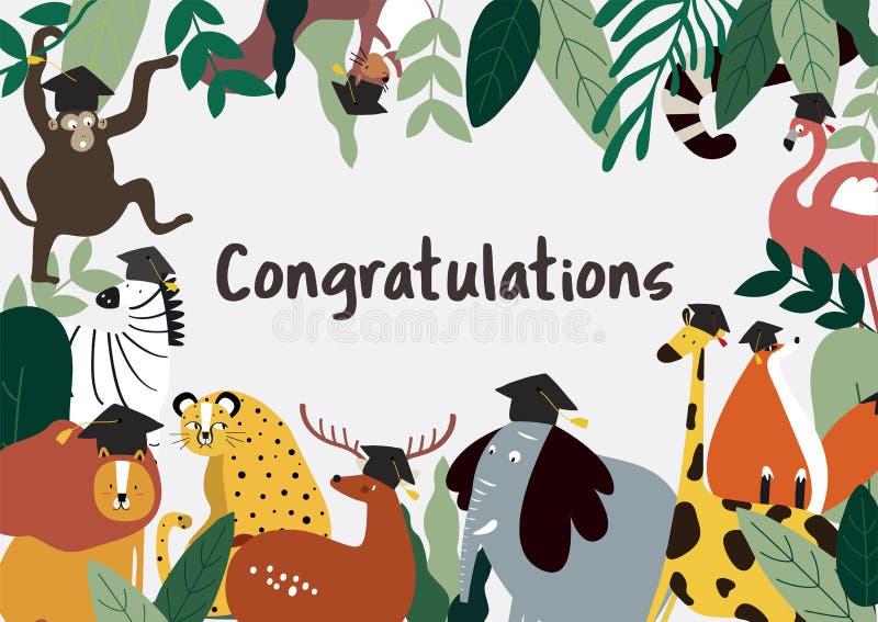 Zwierzęcych kreskówka stylu gratulacji karciany wektor ilustracja wektor