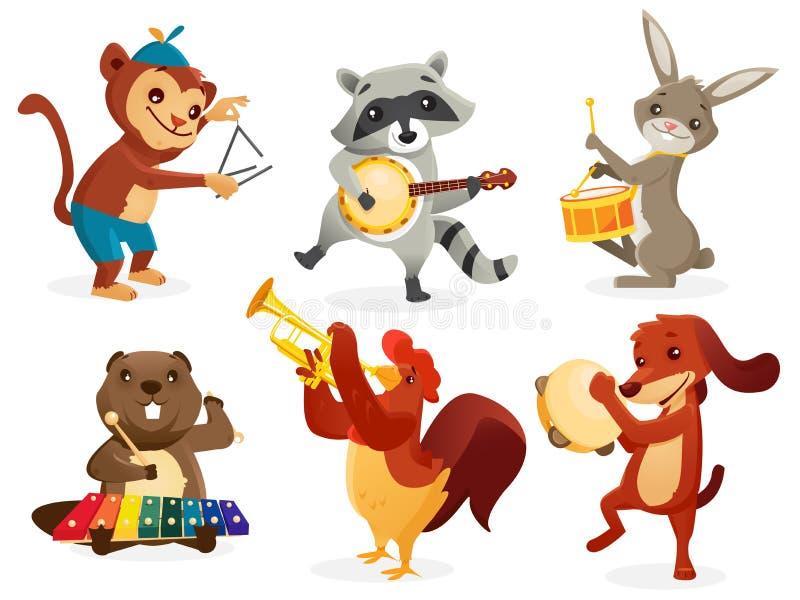 Zwierzęta bawić się instrumenty ilustracja wektor