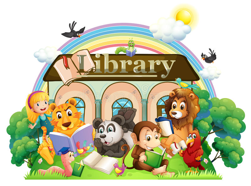 Zwierzęta czyta przed biblioteką ilustracja wektor