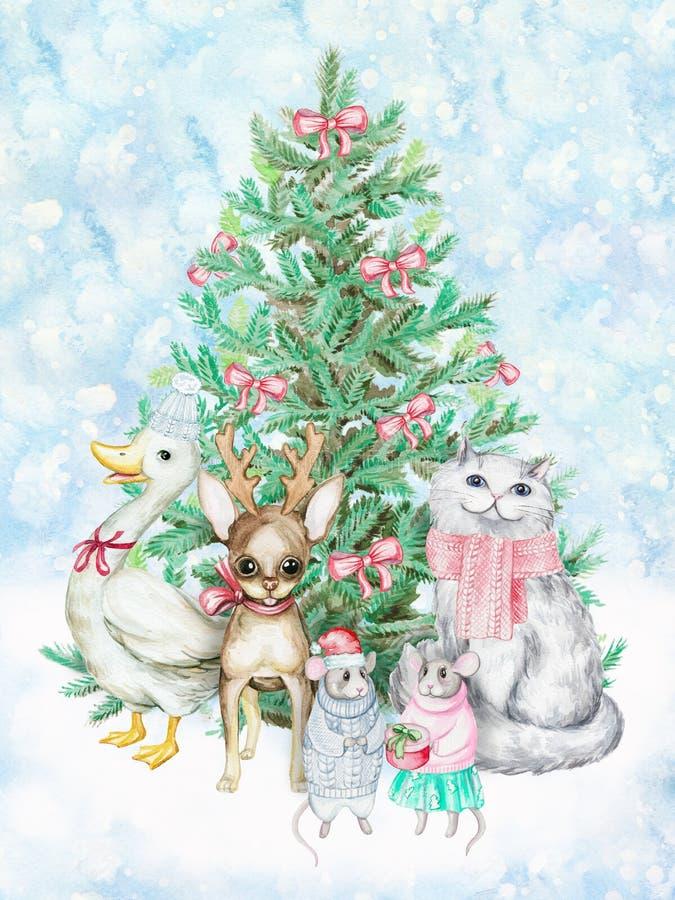 Zwierzęta domowe i choinka Akwareli boże narodzenia ilustracyjni ilustracja wektor