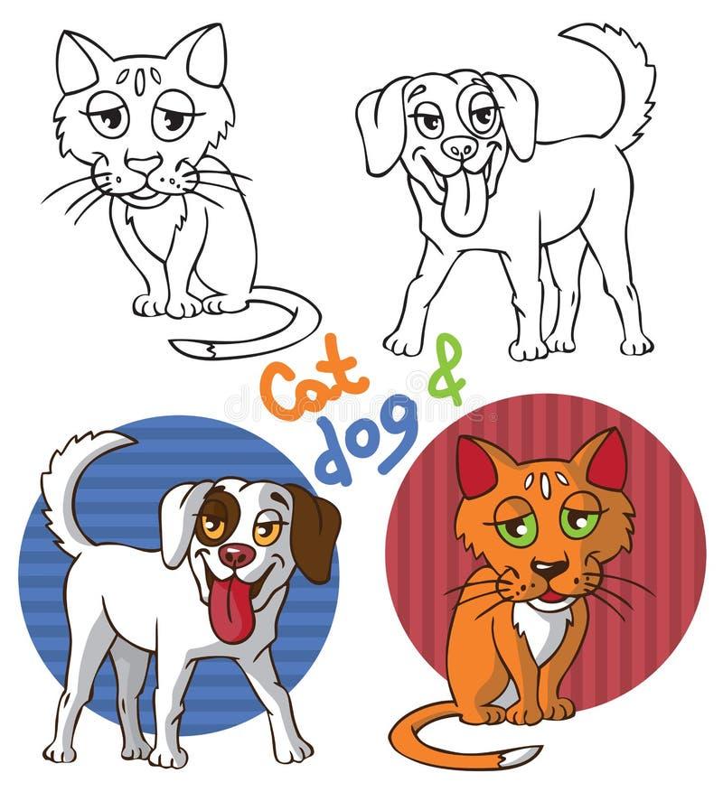 Zwierzęta domowe kot i pies ilustracja wektor