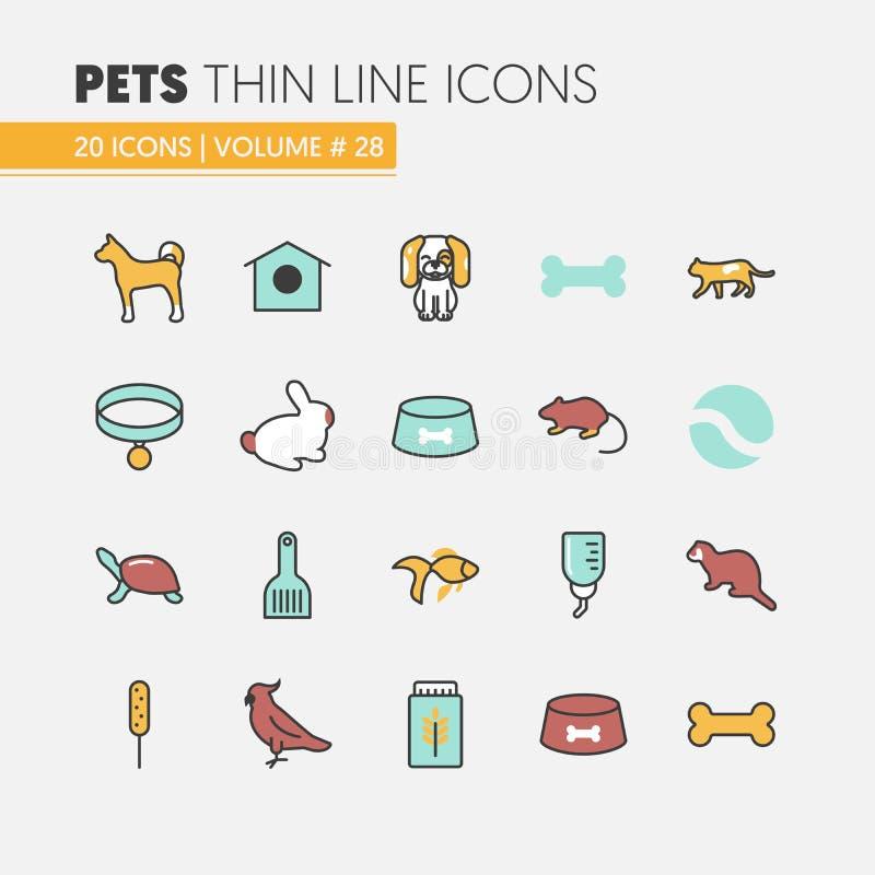 Zwierzęta domowe Liniowi Cienieją Kreskowe ikony Ustawiać z Psim kota ptakiem, ryba i ilustracja wektor
