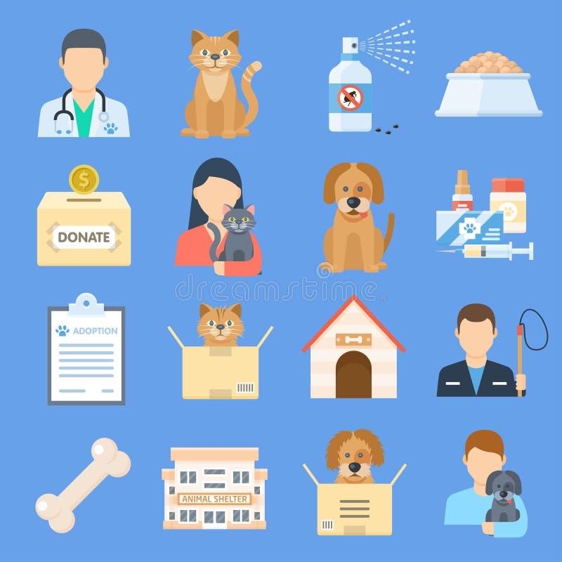 Zwierzęta domowe osłaniają ikona set ilustracji