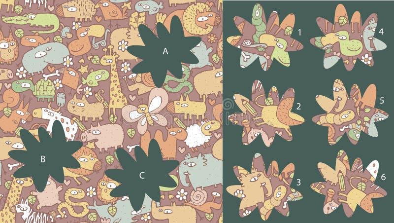 Zwierzęta: Dopasowanie kawałki, wizualna gra Rozwiązanie w chowanej warstwie! ilustracja wektor