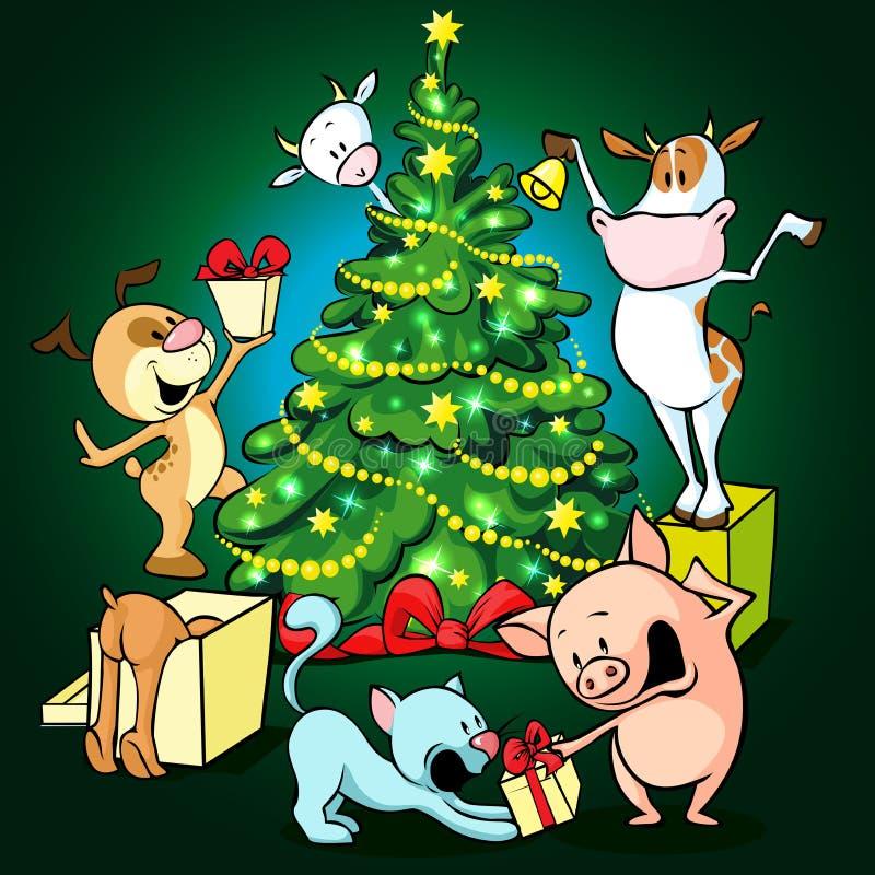 Zwierzęta gospodarskie świętują boże narodzenia pod drzewem - wektor royalty ilustracja