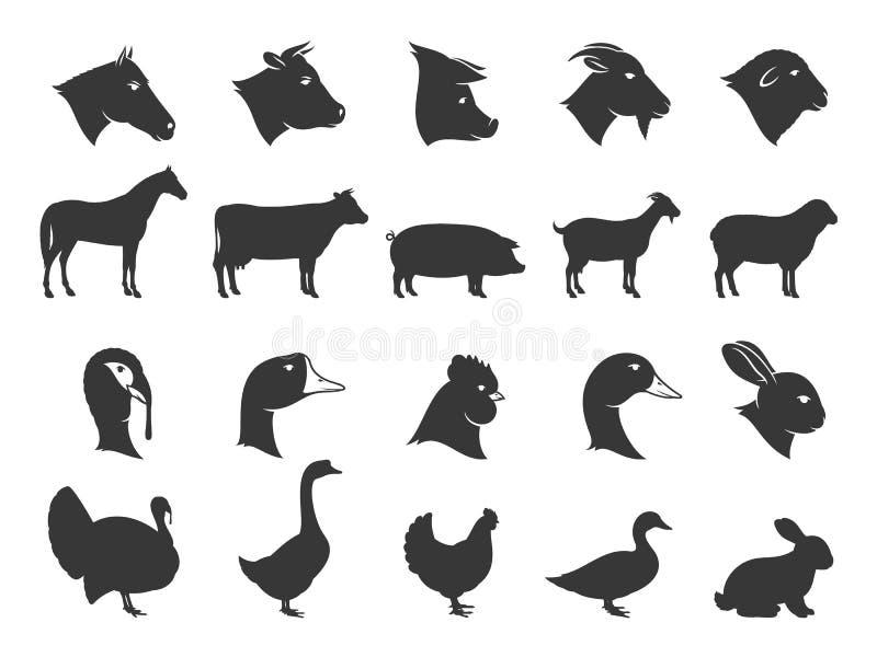 Zwierzęta Gospodarskie ikony i sylwetki ilustracja wektor