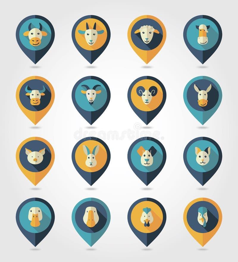 Zwierzęta gospodarskie kartografuje szpilek ikony ilustracja wektor