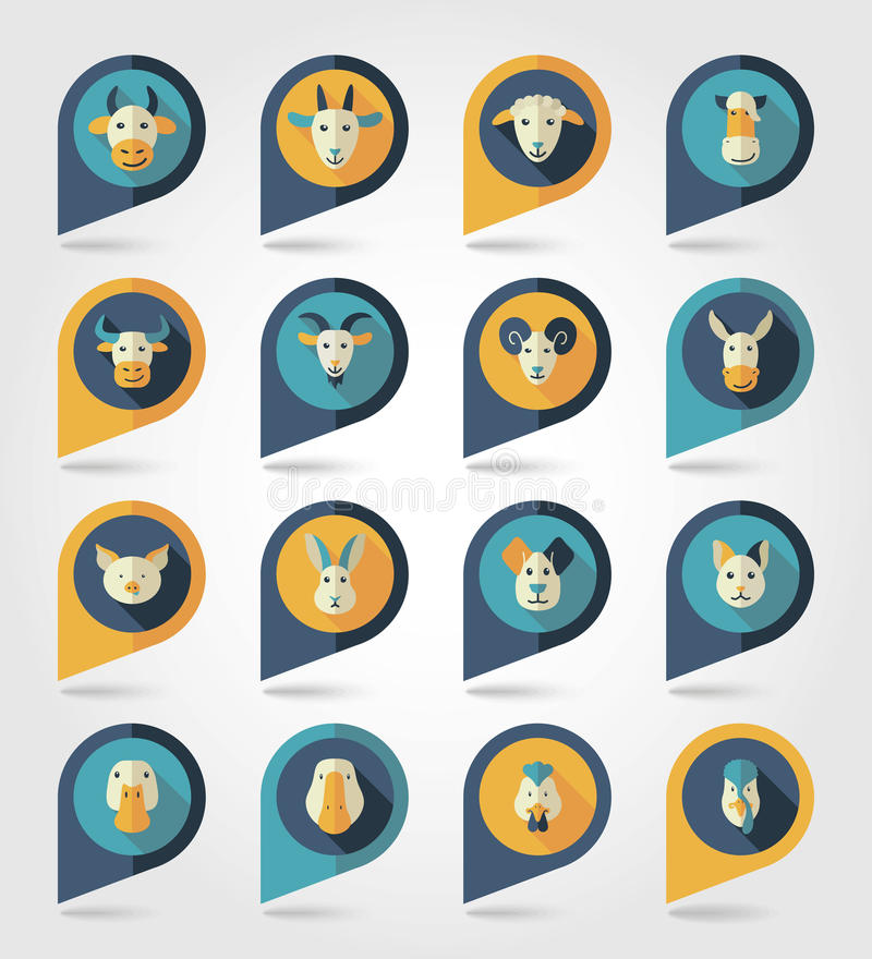 Zwierzęta gospodarskie kartografuje szpilek ikony ilustracji