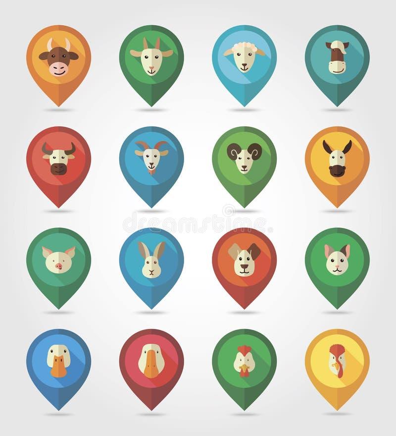 Zwierzęta gospodarskie kartografuje szpilek ikony royalty ilustracja