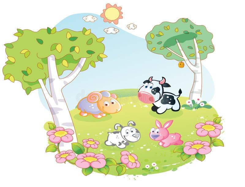 Zwierzęta gospodarskie kreskówka przy kwiatu ogródem ilustracja wektor