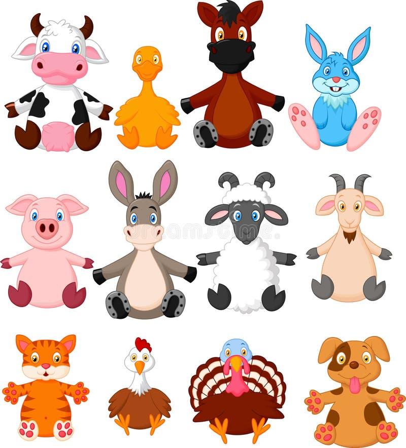 Zwierzęta gospodarskie kreskówki kolekcja ilustracji