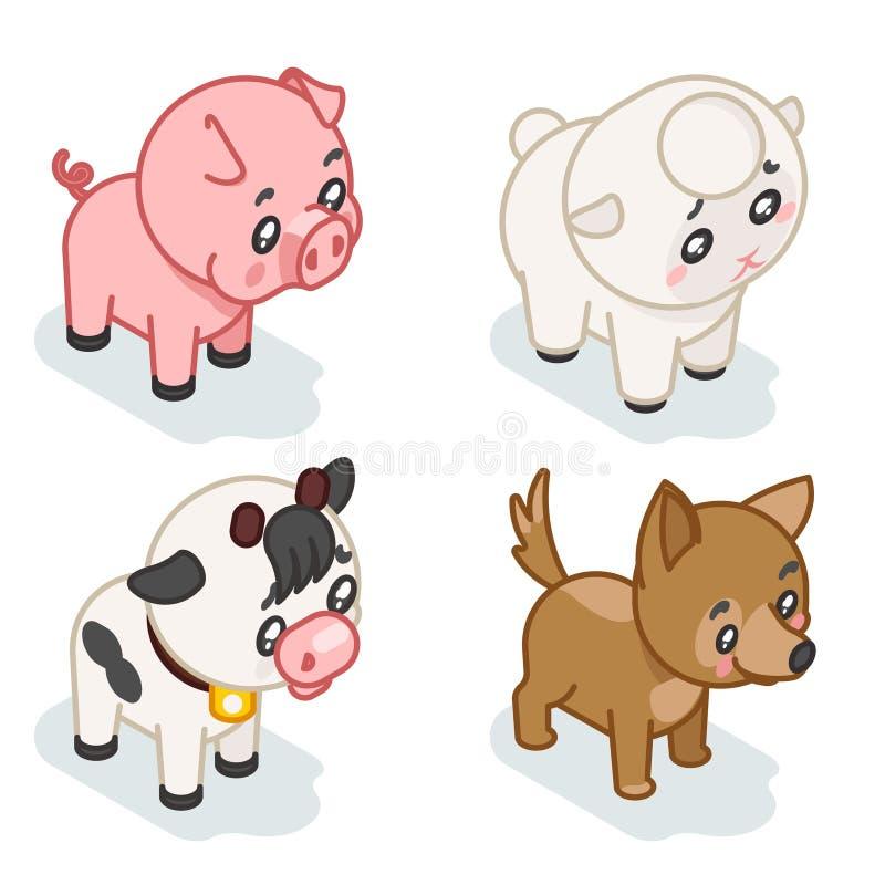 Zwierzęta gospodarskie lisiątka 3d dziecka isometric ślicznej kreskówki projekta płaskie ikony ustawiają wektorową ilustrację ilustracji