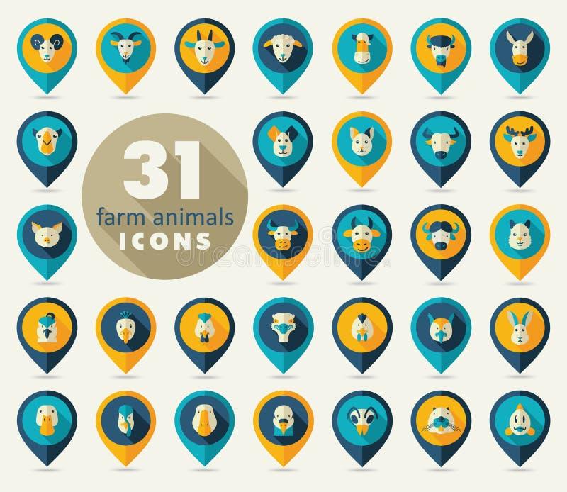 Zwierzęta gospodarskie mieszkania szpilki mapy ikony set Wektor głowa ilustracji