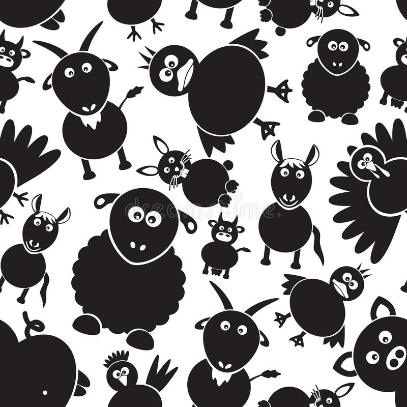 Zwierzęta gospodarskie prosty czarny i biały bezszwowy wzór eps10 ilustracji