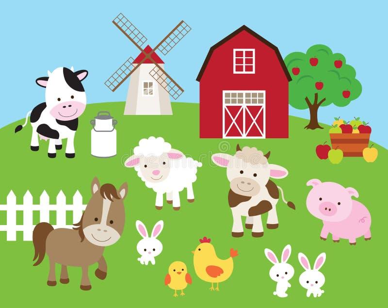 Zwierzęta gospodarskie set ilustracja wektor