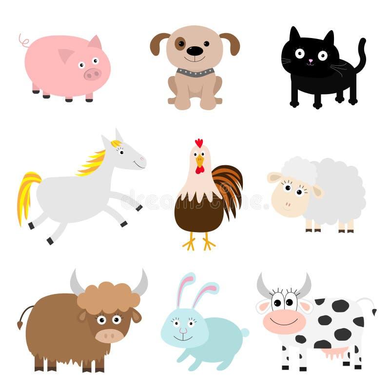 Zwierzęta gospodarskie set Kogut, świnia, pies, kot, krowa, królik, statku koń, kogut royalty ilustracja