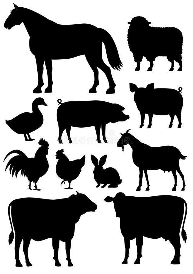 Zwierzęta gospodarskie sylwetki set royalty ilustracja