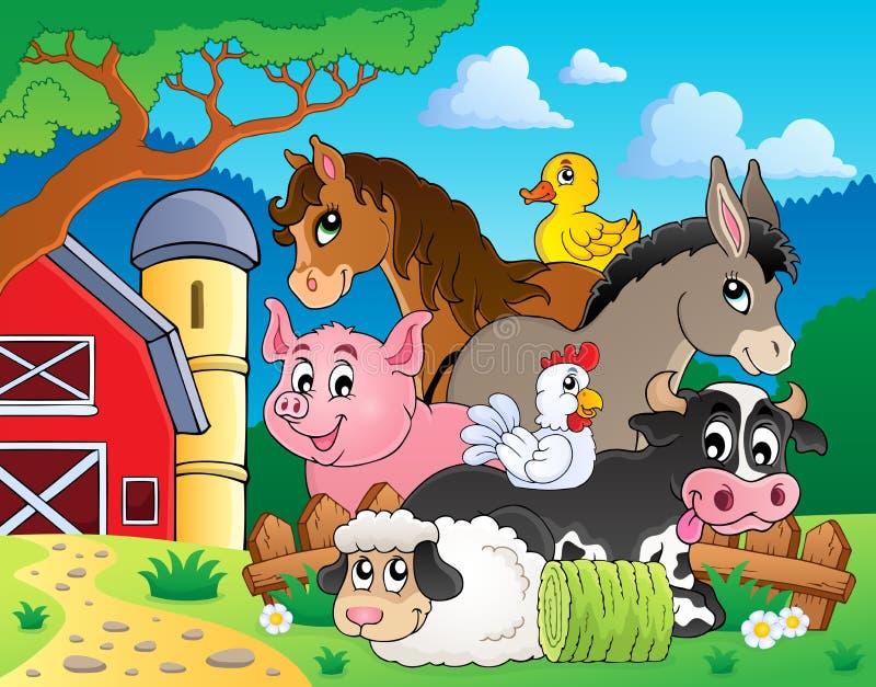 Zwierzęta gospodarskie tematu wizerunek 3 ilustracji