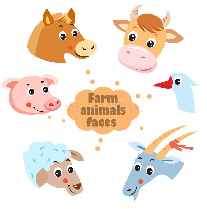 Zwierzęta Gospodarskie twarzy ikony Ustawiać Zwierzęta Gospodarskie: Karmazynka, kózka, gąska, koń, krowa, świnia, cakiel ilustracji