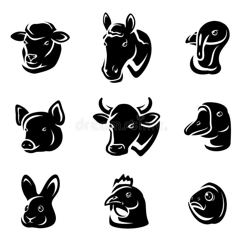 Zwierzęta gospodarskie ustawiający. Wektor ilustracji