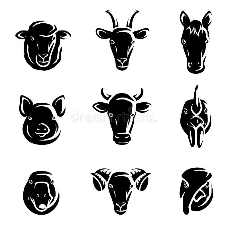 Zwierzęta gospodarskie ustawiający. Wektor royalty ilustracja