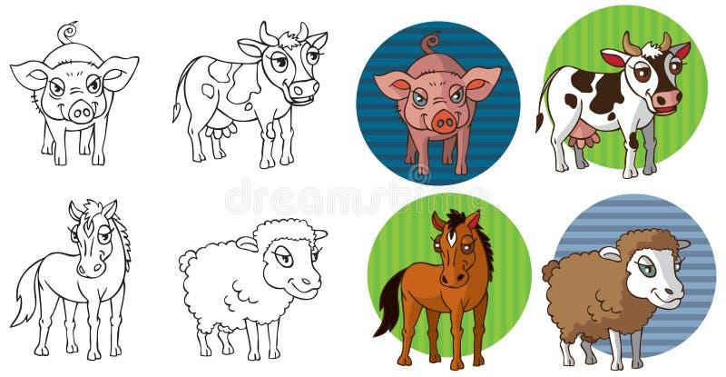 Zwierzęta gospodarskie w okręgu royalty ilustracja