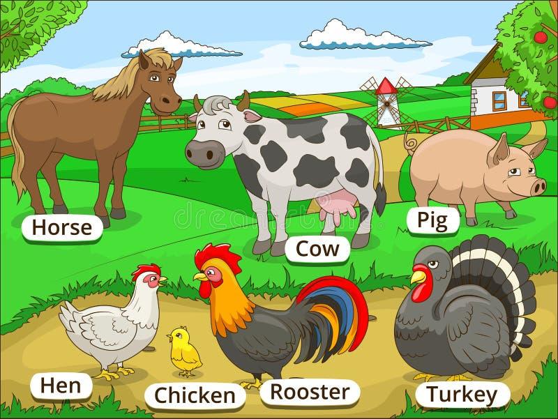 Zwierzęta gospodarskie z imię kreskówką edukacyjną royalty ilustracja