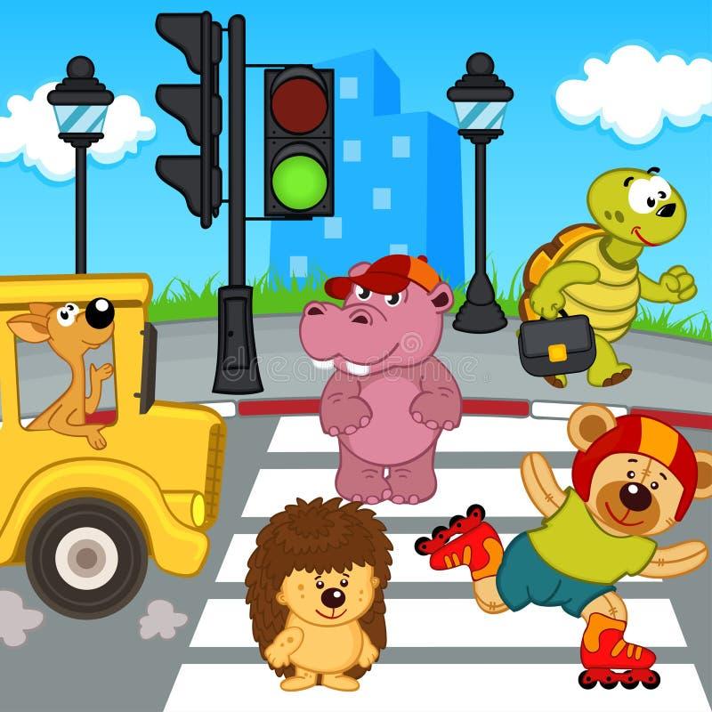 Zwierzęta iść przez crosswalk royalty ilustracja