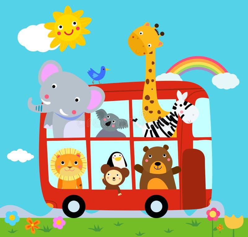 Zwierzęta i autobus ilustracja wektor