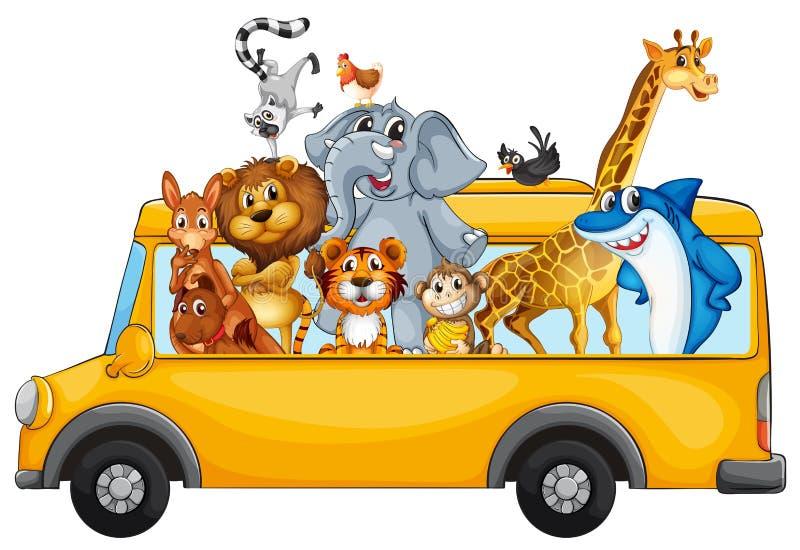 Zwierzęta i autobus ilustracji