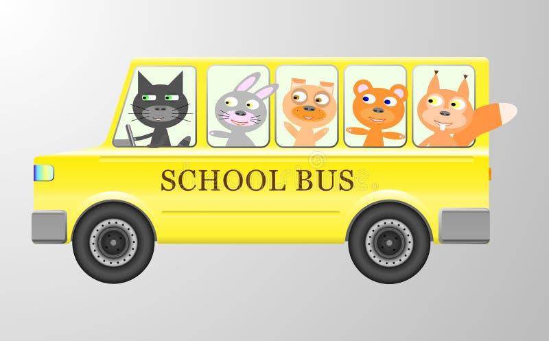 Zwierzęta i autobus szkolny royalty ilustracja